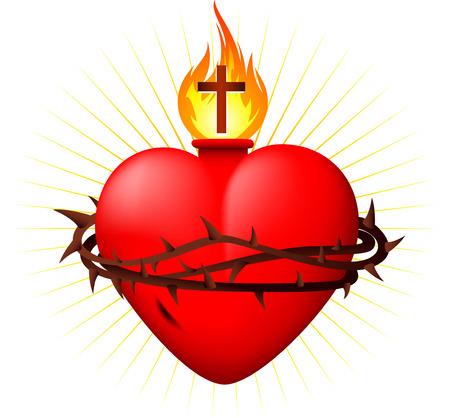 catholicism: Sacred heart vector illustration Illustration