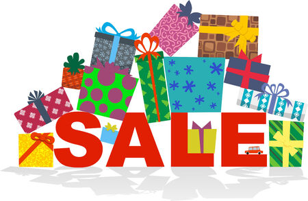 SALE clearance retail deal Full of Presents. Vector Illustration cartoon. Vector