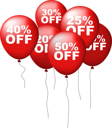 auction off: Sale discount OFF purchase balloons, vector illustration cartoon.