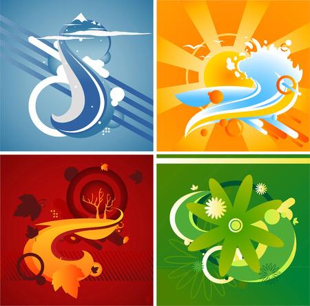 yellow hills: Four seasons theme abstract illustration