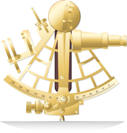 travel locations: Old golden brass sextant old fashion Sailing Instrument vector illustration.