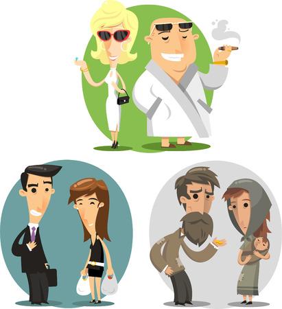 Social classes cartoon illustrations