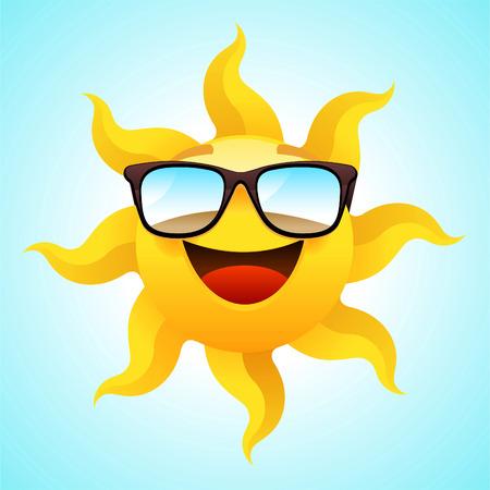 sun glasses: Summer smiling Sun wearing glasses vector illustration.