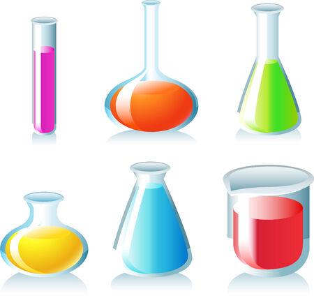 computer scientist: Test tube icon set chemistry chemist laboratory chemists chemist. Vector illustration cartoon.