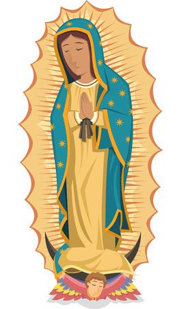 catholicism: Mexican religuos icon virgen de guadalupe cartoon illustration