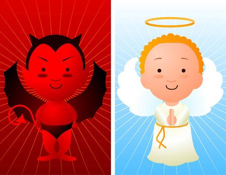천사와 악마 만화 일러스트