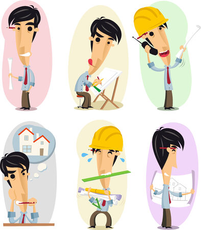 Architect Architecture Proffesional Occupation in action set. Vector illustration cartoon. Vector