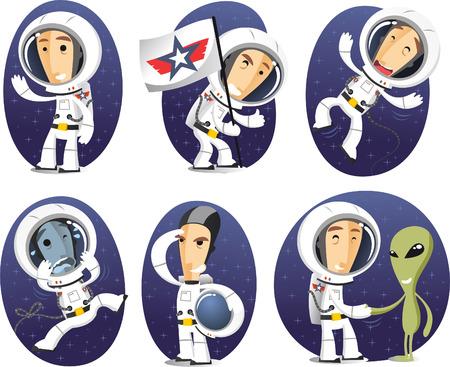 宇宙飛行士の漫画キャラクター アクション セット