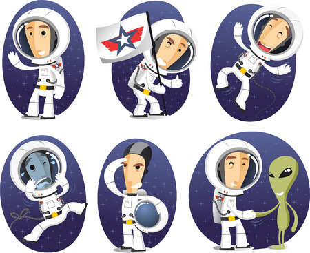 science and technology: Astronaut cartoon character action set