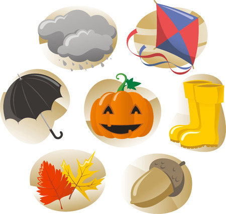 moving images: Autumn elements, icons for the season.