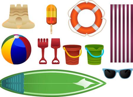 buoyancy: Elementos arena de la playa con castillos de arena, helado, ayuda a la flotabilidad, pelota de playa, pala, cubo, lienzo, lona, ??tabla hawaiana, gafas de sol. Dibujos animados de vector.