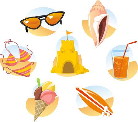 sommerferien: Sommer-Ferien-Design-Element festgelegt. Illustration