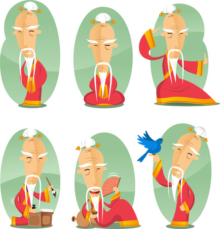 중국어 confusian 오래된 지혜로운 현인 만화 그림