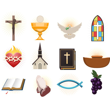 sacred heart: Christianity design elements. Illustration