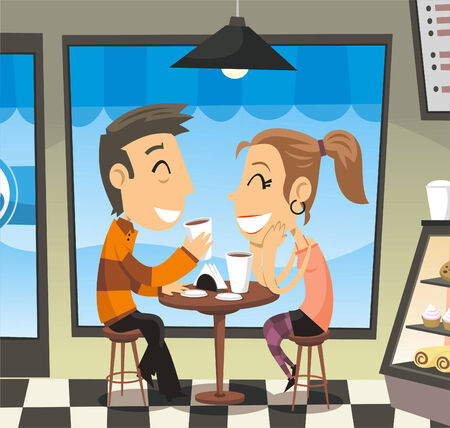 Couple having a coffee at a cafe laughing, with a man and a woman laughing, sharing, having a coffee to go. Vector illustration cartoon. Ilustração