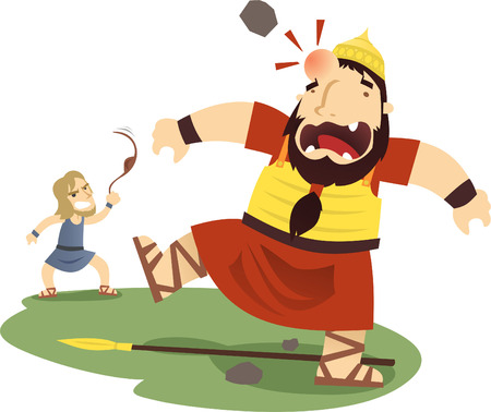 David and Goliath cartoon illustration Stock Illustratie