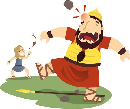 David and Goliath cartoon illustration Vettoriali