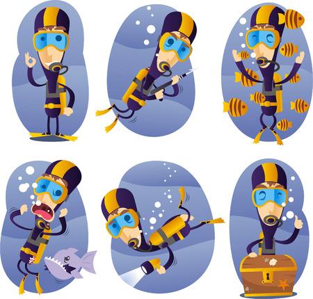 inhaling: cartoon deep sea diver illustration set