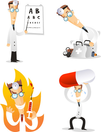 eye exam: cartoon doctor illustration set