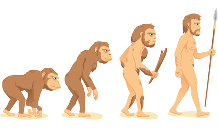 monos: Evolución Humana del mono en hombre, con mono, Aborigen y hombres ilustración vectorial de dibujos animados. Vectores
