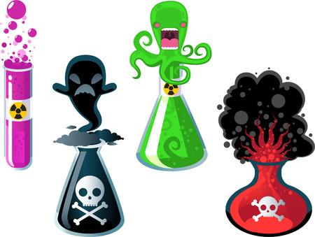 riesgo quimico: Experimentos de laboratorio, con tubo de prueba de cuatro con la ilustración de cuatro experimentos químicos diferentes vectores.