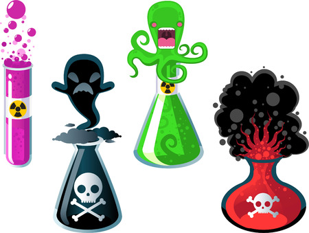 mortal danger: Test Tube Experiments, with four test tube with four different chemical experiments vector illustration.
