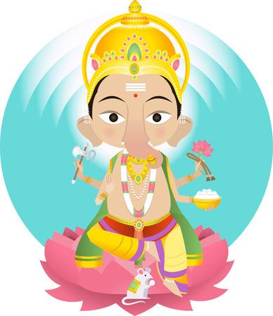 seigneur: Ganesha ou Ganapati v�n�r� comme solvant des obstacles et plus g�n�ralement comme seigneur des d�buts et seigneur des obstacles, patron des arts et des sciences, et deva d'intellect et de sagesse.