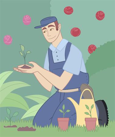 compost: Gardener gardening garden park plants flower fruits landscape Illustration