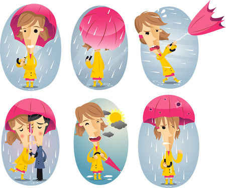 hurricane disaster: Cartoon girl in a storm holding umbrella Illustration