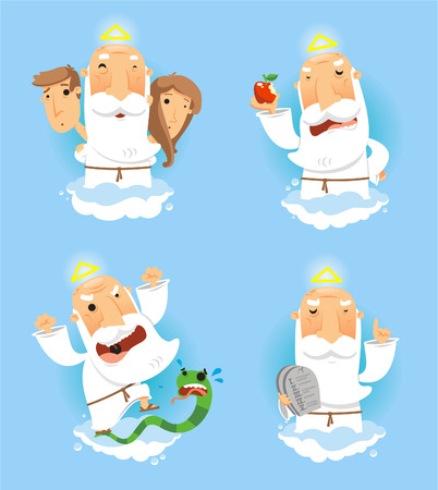 garden eden: God in heaven set, with Adan and Eve, with god with apple, with god angry with temptation snake and God with the ten commandments board vector illustration.