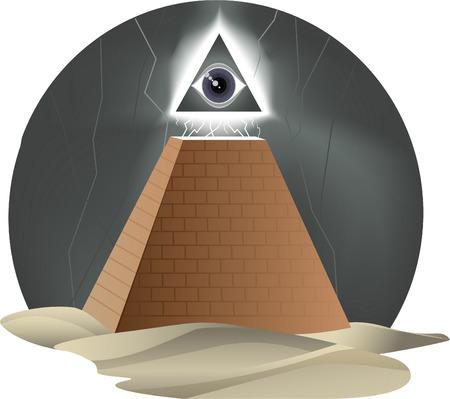 ojo de horus: Todo el ojo que Rage Furioso Dios Horus pirámide de la religión, ilustración vectorial de dibujos animados.