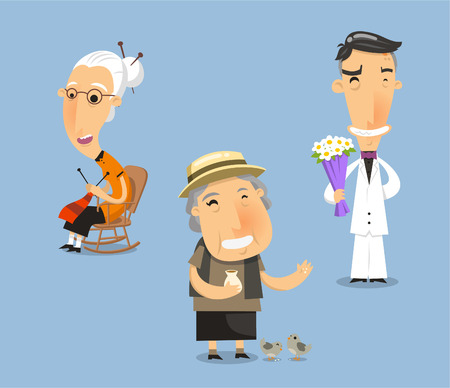 pap: Grandparent grandmother grandfather grandpa granny senior adult. Vector illustration cartoon.