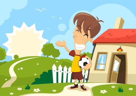 adolescence: Boy enjoying the sun holding a soccer ball in a Sunny day