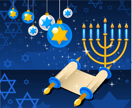 candlestick: Celebrate your judaism with Hannukah magic. Illustration