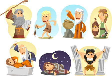 history books: Samson, Noe, Moises, Judith, David Joseph and Abraham. illustration cartoon.