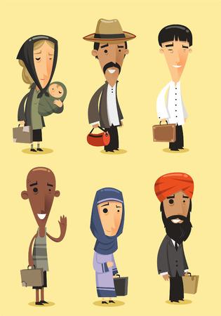 Cartoon immigrant illustrations 矢量图像