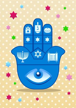 the feast of the passover: jewish hamsa lucky hand Illustration