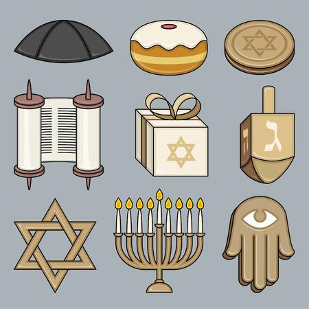 Jewish culture elements Torah hexagram menorah knishes bread pipe
