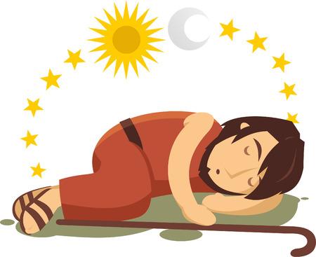 Joseph droomt cartoon illustratie Stock Illustratie