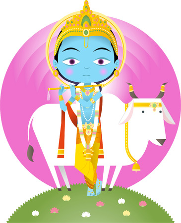krishna: Hindu god Krishna cartoon illustration