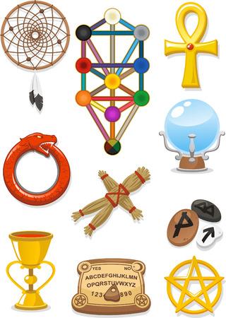 kabbalah: Magical elements cartoon icons Illustration
