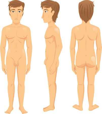 naked man: Hombre Delante Consejo, lateral y posterior Vista