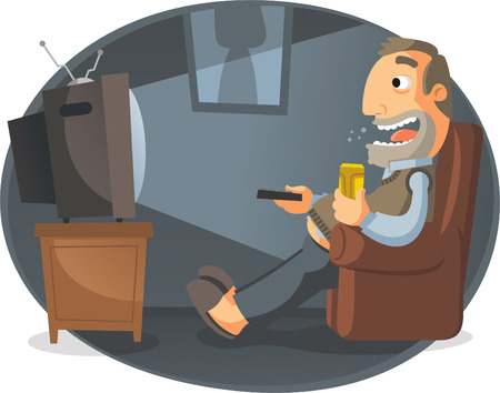 funny movies: Man watching TV and drinking beer, noon, vector illustration.