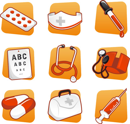 Medical icon set pills nurse dropper syringe - Illustration