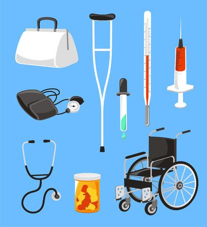Ziekenhuis en gezondheidszorg pictogrammen, met spuit, kruk, thermometer, druppelen, druppelaar, rolstoel, meds, med pillen, bloeddrukmanchet en arts koffer vector illustratie.