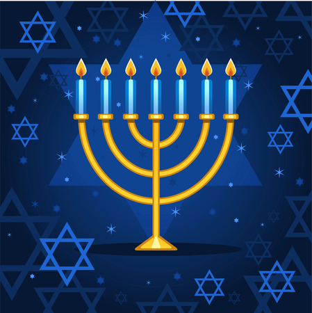 Menorah night sparks cartoon illustration Ilustracja