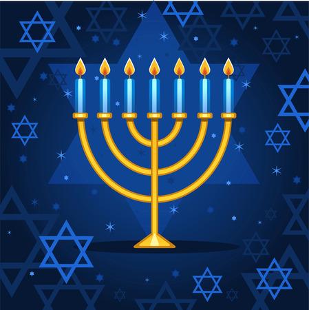 candlestick: Menorah night sparks cartoon illustration Illustration
