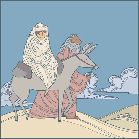 hoofed mammal: Mary and joseph going to egypt Illustration