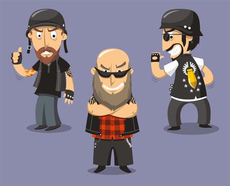 tough guy: Motorcycle Bikers Club Members, vector illustration cartoon.