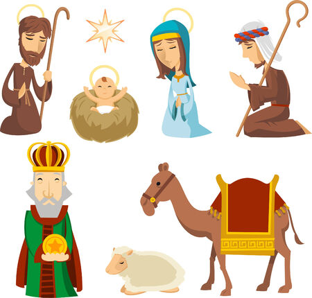 Nativity scene characters illustrations Vector
